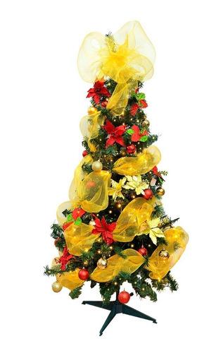 combo arbol navideño 180cm+luces led+bolas+malla+flores