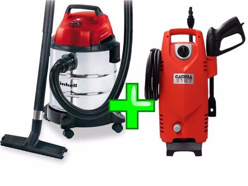 combo aspiradora einhell 20 l + hidrolavadora gamma 1200 w