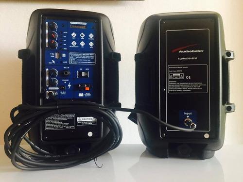combo audiobahn recargable 8pulgadas  activa + pasiva