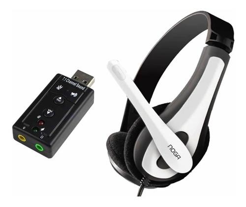combo auricular vincha con microfono + placa de sonido usb