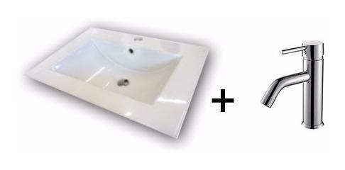 combo bacha 60cm loza griferia monocomando tubo baño oferta