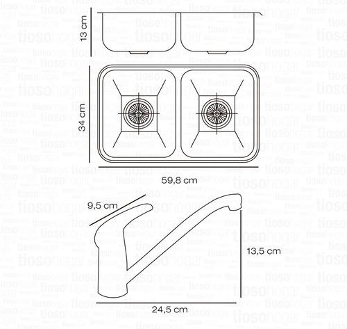 combo bacha doble cocina johnson cc28 b grifería monocomando