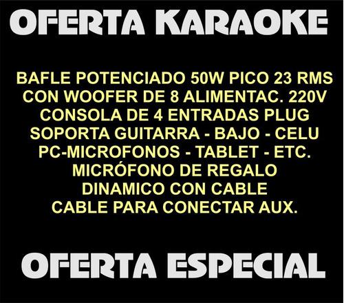 combo bafle potenciado consola 4 canales + microfono karaoke