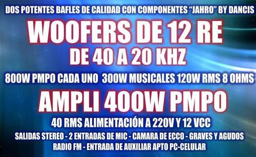 combo bafles + ampli usb sd fm 4 canales 200w 2mic karaoke