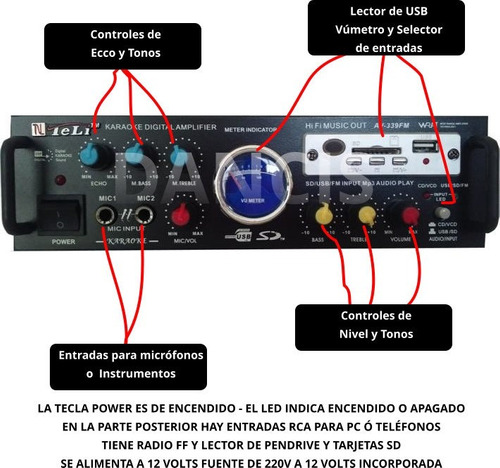 combo bafles de 12 + ampli usb sd fm 4 can 200w 2mic karaoke