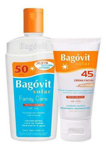 combo bagóvit solar crema facial fps 45 + emulsión fps 50
