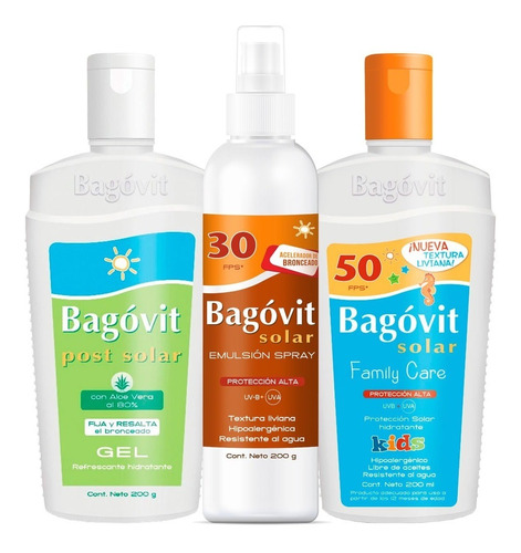 combo bagóvit solar spray fps 30 + fps 50 kids + post solar