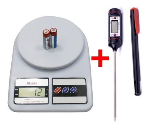 combo balanza de cocina 5-7-10kg + termometro digital comida