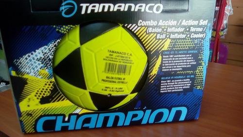 combo balon futbol tamanaco #5+ inflador+ termo