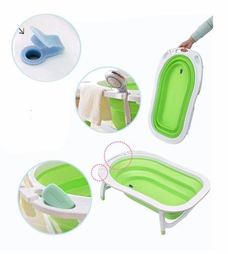 combo bañera plegable flexi infanti celeste verde + reductor
