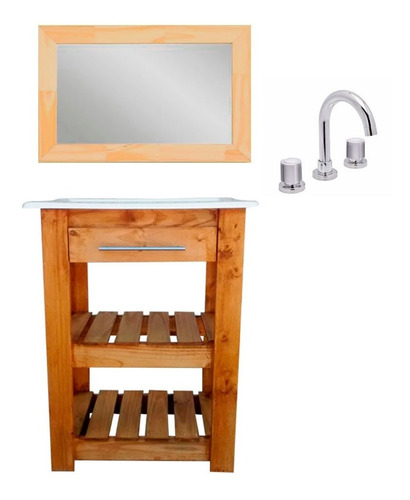 combo baño espejo vanitory rustico bacha canilla lavatorio