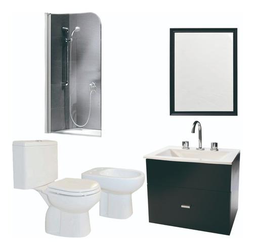combo baño imperdible inodoro bidet mampara y vanitory 40cm