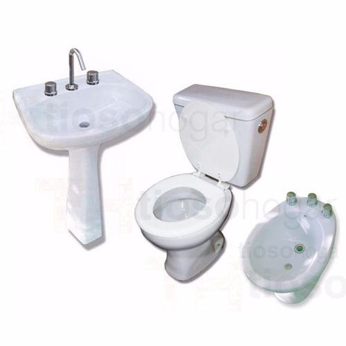combo baño inodoro + mochila + bidet + pie bacha + griferia
