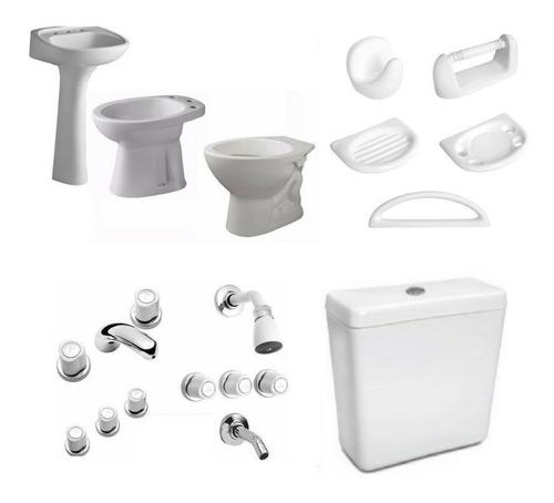 combo baño sanitarios + griferia + accesorios + plomeria cba