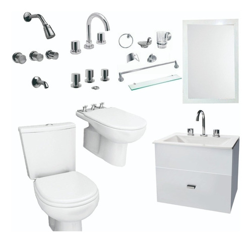 combo baño vanitory 50cm set 7 pz  griferia espejo i- cuotas