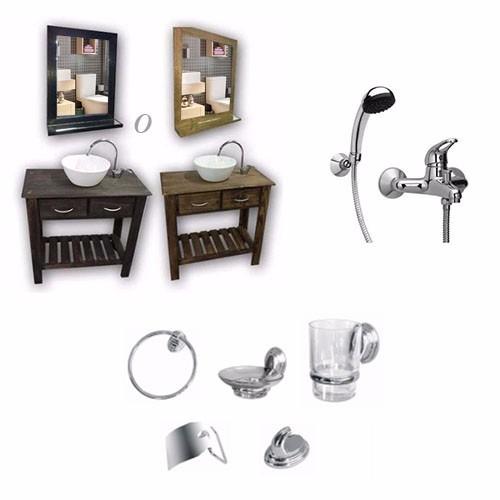 combo baño: vanitory 55cm lavatorio cisne espejo set 5 pza