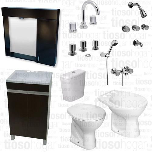 combo baño vanitory grifería sanitarios deca peinador espejo mdf laqueado lavatorio ducha emb ext bidet metal 9 piezas