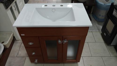 combo baño vanitory lujo 90 cm cedro + bacha pringles