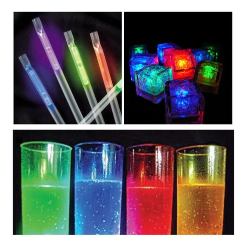 combo bar luminoso barra 12 pers vasos sorbetes hielos led