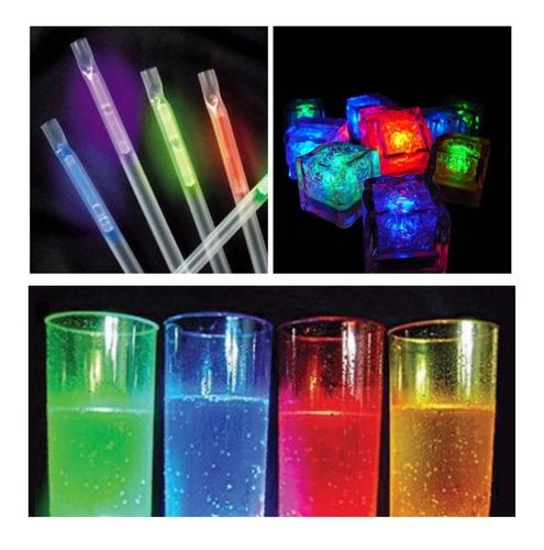 combo bar luminoso barra 24 pers vasos sorbetes hielos led