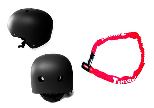 combo bicicleta/moto:casco protector y linga cadena candado