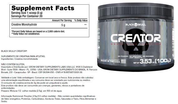 2a53d3879 Combo Black Skull Whey 100% Refil + Creatina + Bcaa + Shaker - R ...