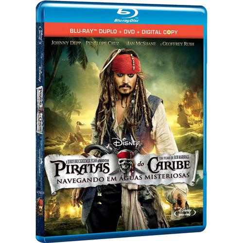 combo blu-ray duplo + dvd + digital copy piratas do caribe 4
