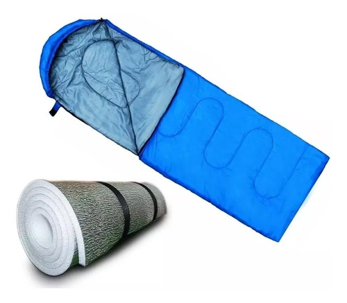 combo bolsa dormir termica 0 c° + aislante termico camping
