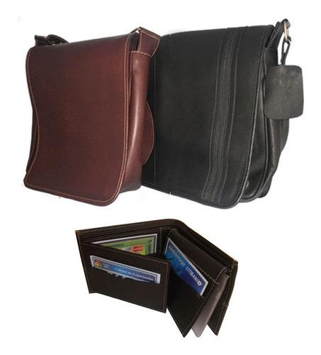 combo bolso maletin carriel cuero 100%  billetera hombre