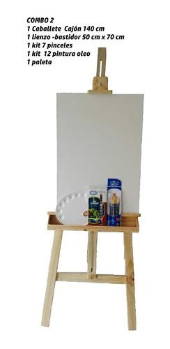 combo caballete cajón 140cm para pintar y exposición