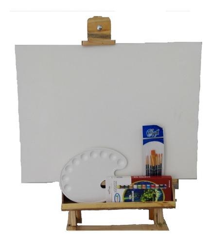 combo caballete estudio 60cm para pintar y exposición