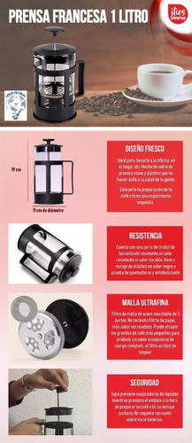 combo cafetera prensa francesa 800ml molino manual acero