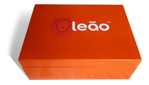 combo caixa de madeira leão oficial + 6 chás linha premium