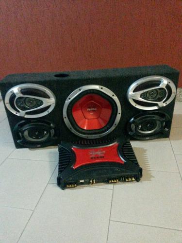 combo caja acústica + amplificador sony xplod.