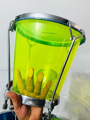 combo cajas vallenatas acrilicas con forro+guiro+trinche