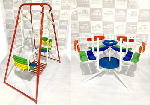 combo calesita+hamaca roja doble asiento reforz para niños