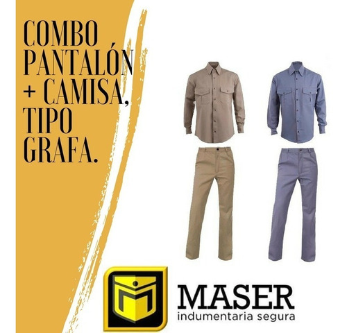 combo camisa + pantalón gabardina maser tipo grafa.