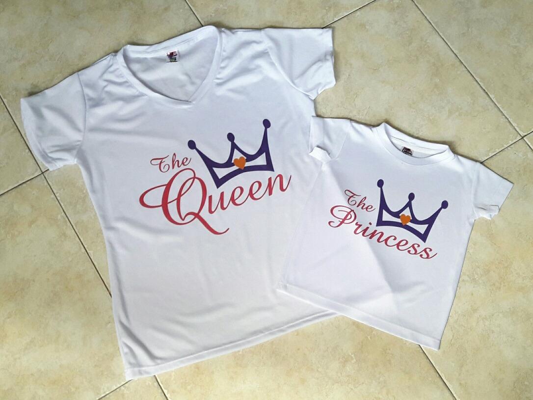 Combo Camiseta Mama E Hija Queen Y Princess