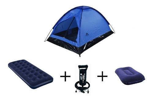 combo carpa 2p asgard + colchón sencillo + almohada + bomba
