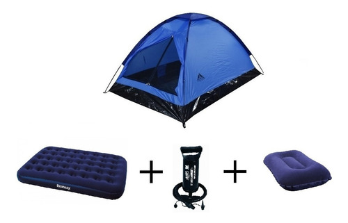 combo carpa 2p +colchon inflable doble +almohada+inflador