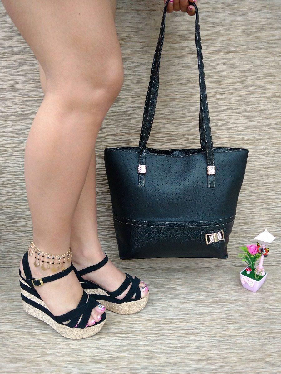 d5d8758e7f1 combo cartera bolsa amplia + sandalia plataforma negra dama. Cargando zoom.