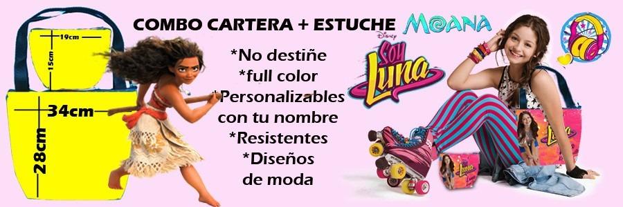 Combo Cartera  Estuche Portacosmetico Moana Soy Luna Disney  Bs