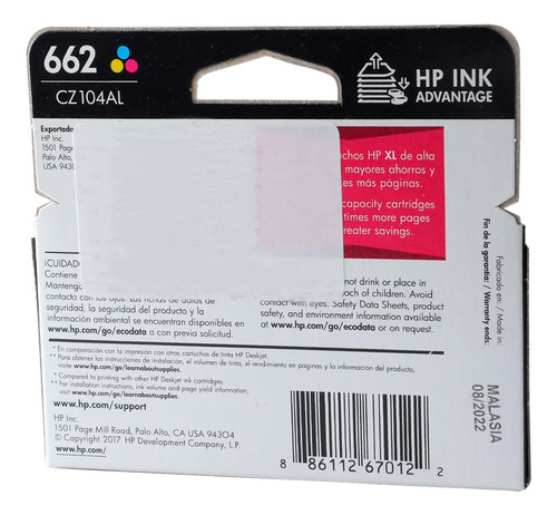 combo cartucho hp 662 tinta original tricolor + negra