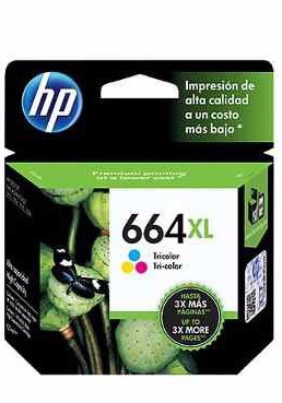 combo cartucho hp 664xl f6v31al negro + hp 664xl f6v30 color