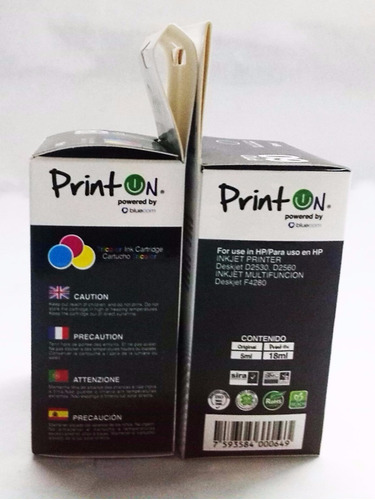 combo cartucho hp compatible 60 negro y color printon f4480