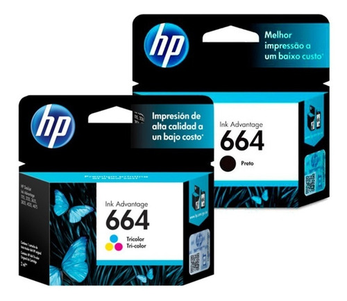 combo cartucho original hp 664 negro color 2135 3635 4675