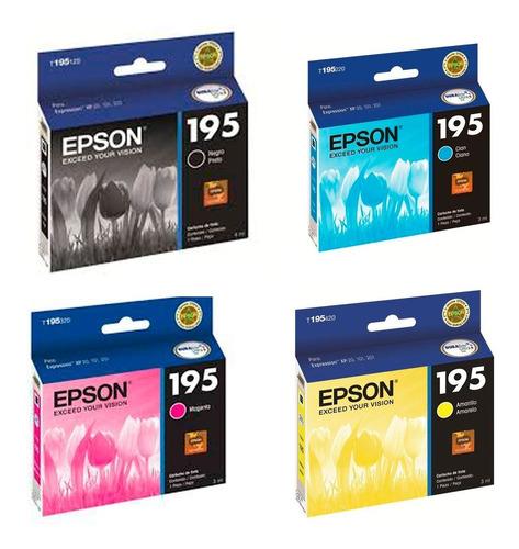 combo cartuchos epson t195 negro + colores xp211 201 orig