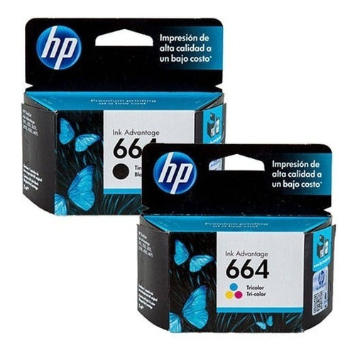 combo cartuchos hp 664 original color + negro 2135 3635 4535
