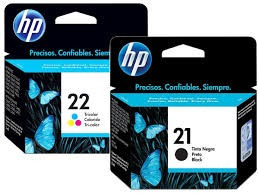 combo cartuchos hp originales 21 negro y 22 color