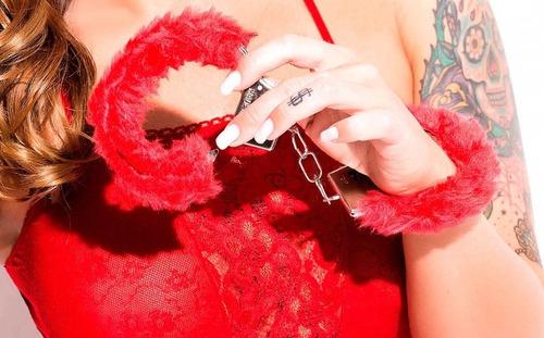 combo catsuit red abierto portaligas + esposas juego erotico